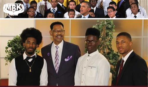 MBK Logo Page and picture of Superinendent Hamilton with male students