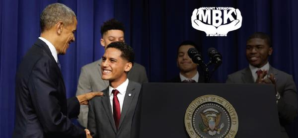 My Brothers Keep logo Hands around the MBK over a picture of young men with President Brack Obama