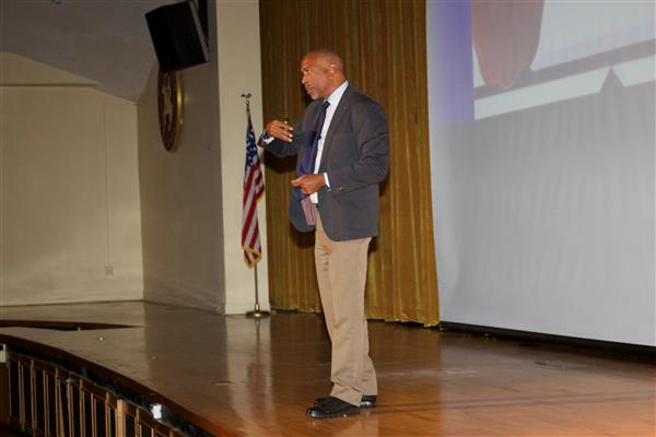 Dr. Pedro A. Noguera addresses district staff at convocation 2018