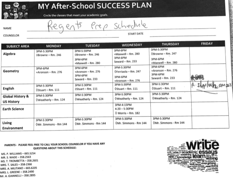 Regents Prep Schedule: See your counselor